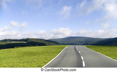 The road ahead - An asphalt road through the grass hills of...