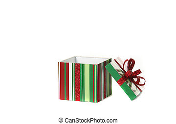 Holiday Gift Box With Lid Open - Holiday Present Isolated on...