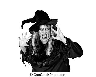 Scarry Woman Witch Making Mean Expression