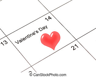 Valentine Calendar - calendar with a heart marked on...