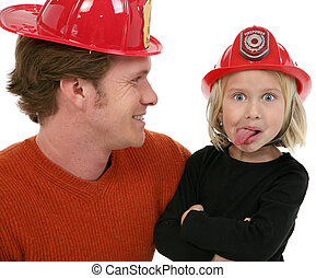 Little Fire Fighter - Adorable five year old girl with...