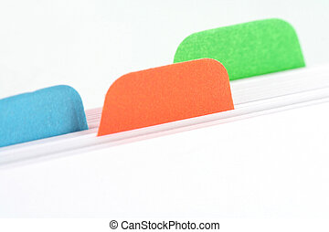file divider, office supplies, close up
