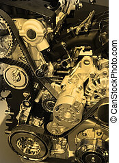 Internal combustion engine side view in sepia
