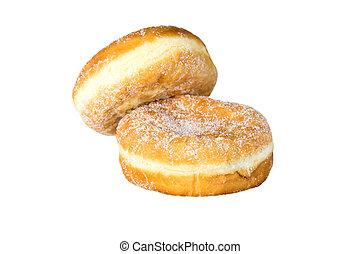 Two doughnuts - Two whole doughnuts isolated against a white...
