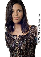 Happy Girl - A smiling attractive young asian woman on white...