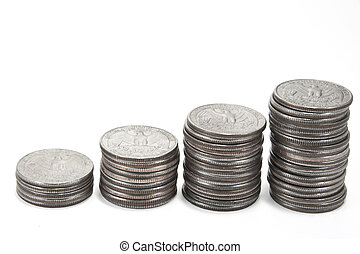 Stack of coins isolated against a white background