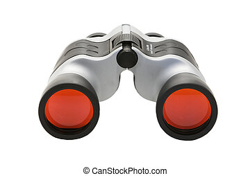 Binoculars with red lens isolated against white