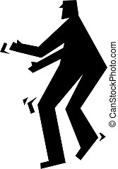 sneaking about - simple silhouette icon of a man sneaking...
