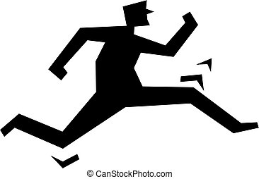 the chase - simple icon silhouette of a man chasing or...