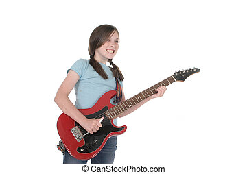 Pre-Teen Girl Guitar - Young pre teen girl playing a red...