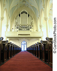 Church organ and pews