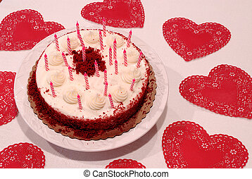 Valentine Birthday Cake - Close up of a birthday cake and...