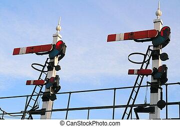 Twin Signals - Vintage Railway Signal Gantry