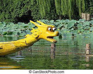 Dragon boat on Daming lake, Jinan, China