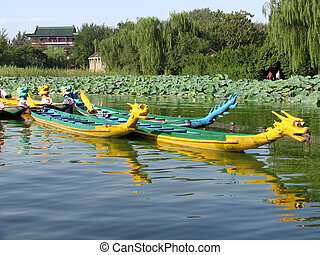 Dragon boat on Daming lake, Jinan, China