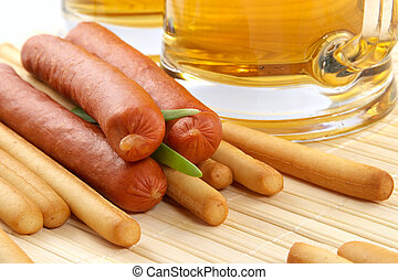 Beer and snack-smoked sausage