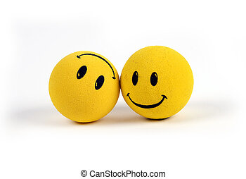 Objects - Yellow Smiley Faces - Two round smiley faces - one...