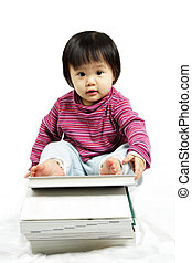 Chilren education - A cute girl with a stack of books, can...