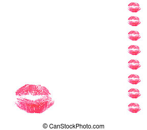 lips kiss - red lips kiss on white bakcgraund isolate,...