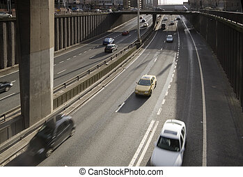 underpass motorway - Traffic passes along city-centre...