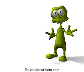 Alien surprise - cartoon alien with surprised expression w...