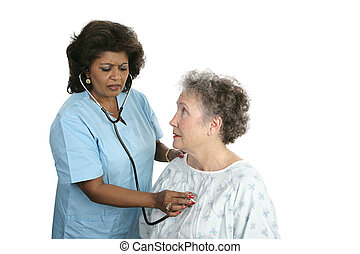 Medical Problems - A worried patient with a doctor listening...