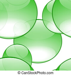 Aqua Bubbles - green aqua bubble of random sizes and shapes