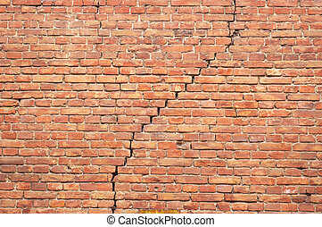 cracked redbrick wall - cracked red brick wall texture....