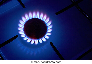 gas fire - Gas cooker with burning fire