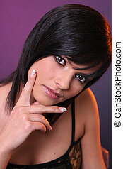 Girl thinking - Beautiful girl with black hair thinking