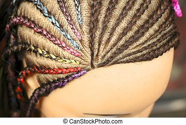 Hairstyles mannequin - Upper close-up view of a woman head...