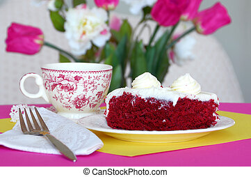 Afternoon Tea - Close-up of a slice of red velvet chocolate...