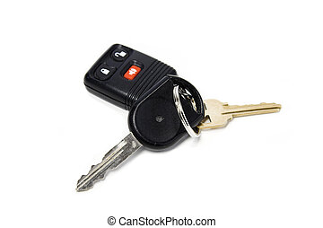 Car keys and car alarm isolated against white