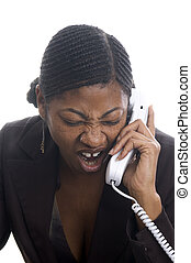 angry on phone - angry pretty black woman customer service...