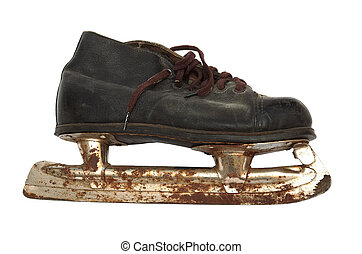 old and rusty skates - Old and rusty skates on a white...