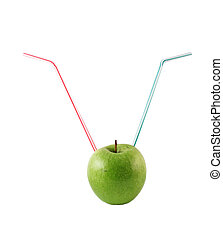 Green apple with a 2 straws on a white background