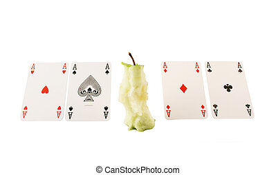 Green stump and 4 aces: heart, rhombus, leave, club