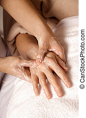 At the spa - hand cream massage at a local spa