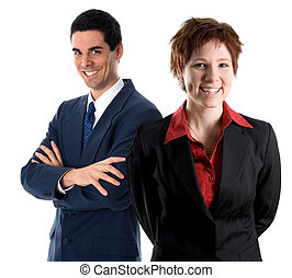 Business team - happy team members on an isolated white...