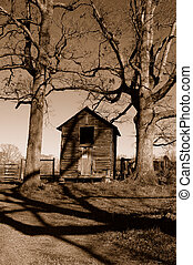 Farms shack - farm shack in sepia tones