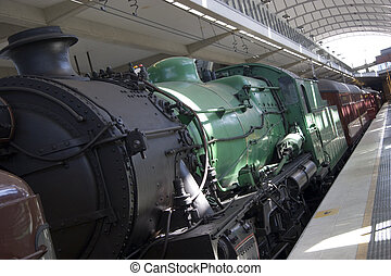 Steam Train - A steam train at a station - slanted