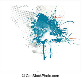 woman\\\'s face - Young woman\\\'s face on abstract grunge...