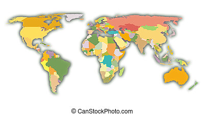 world map with colored regions