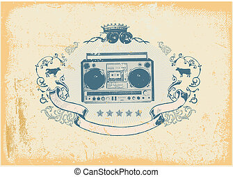 boombox - Heraldic composition with boombox and floral...