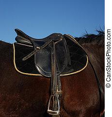 english saddle - black english saddle on a black stallion: