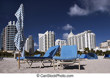 Empty beach - Chairs on the empty beach. South Beach (Miami)...