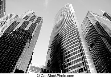 Downtown Chicago - A unique view of the skyscrapers near the...