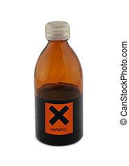 pequeño, vidrio, botella, perjudicial, señal