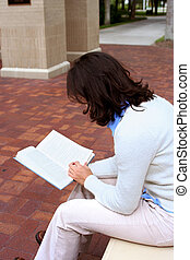 Reading Book - Young female student sitting and reading a...