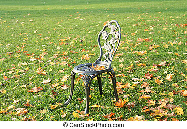 Chair is standing in autumn